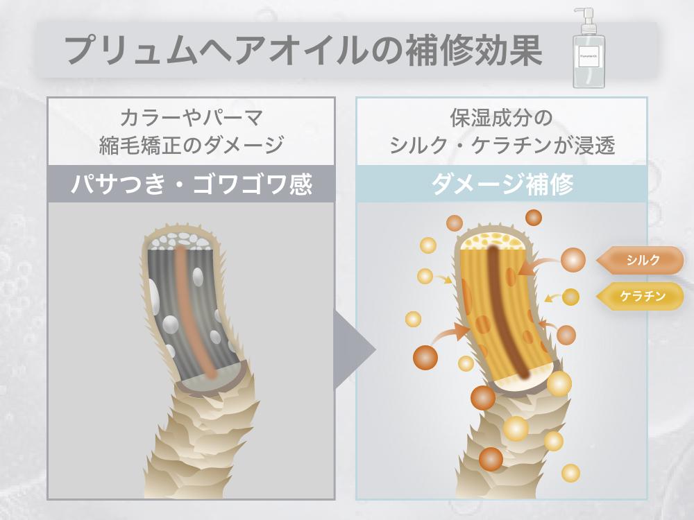 美容師監修プリュムヘアオイルは補修成分を閉じ込める